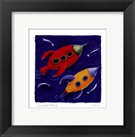 Two Rockets Blast Off Framed Print