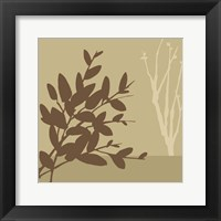 Metro Leaves In Khaki I Framed Print