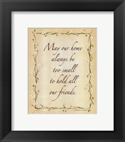May Our Home Framed Print