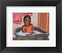 Framed Bath Time Girl