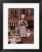 Framed Chef With Wine