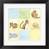 Framed Tic-Tac Cats In Blue