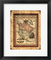 Framed Crackled Map Of North America