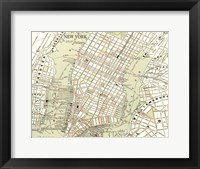 Sepia Map Of New York Framed Print