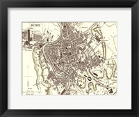 Sepia Map Of Rome Framed Print