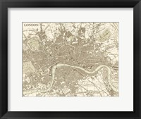 Sepia Map Of London Framed Print
