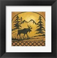 Framed Lodge Moose Silhouette