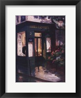 Bookshop By Lamplight, Paris Framed Print