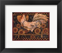 Framed Rooster With Sunflowers