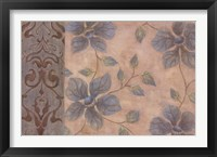 Framed Blue Damask Romance I