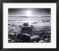 Sun Surf and Rocks Framed Print