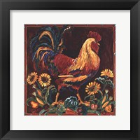 Rooster Rustic Framed Print