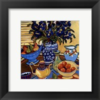 Framed Blue And White With Oranges