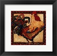 Framed Provincial Rooster Red