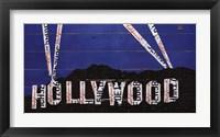 Framed Hollywood Sign At Night
