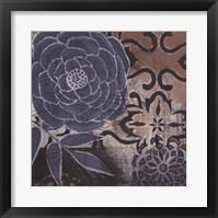 Framed Denim Rose I