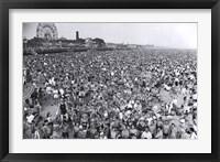 Framed Coney Island Beach Crowd