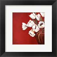 Tulips on Red Framed Print