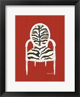 Zebra Chair On Red Framed Print