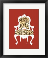 Leopard Chair On Red Framed Print