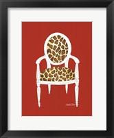 Giraffe Chair On Red Framed Print