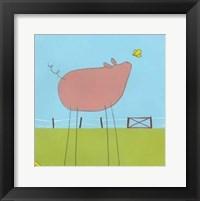 Stick-Leg Pig I Framed Print