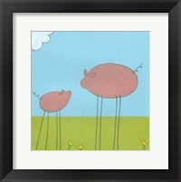Stick-Leg Pig II Framed Print