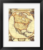 Framed Small Nautical Map Of North America
