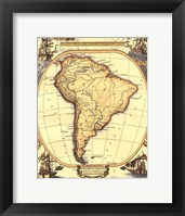 Framed Small Nautical Map Of South America