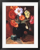 Framed Poppies in Black Vase