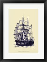 Framed Antique Ship in Blue II