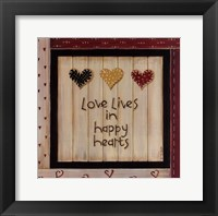 Love Lives In Happy Hearts Framed Print