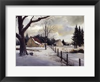 Snow Fields - Winter Barn Framed Print