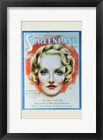 Framed Marlene Dietrich - woman's face