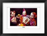 Framed Clown Kids Playing Poker