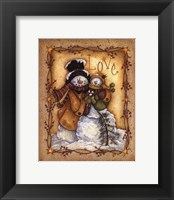 Snow Folk Love Framed Print
