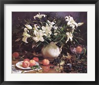 Framed Lilies and Peaches