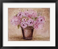 Classic Pink Roses And Hydrangeas Framed Print