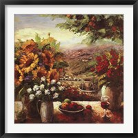 Sunflowers With Fruit And Wine I Framed Print