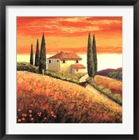 Framed Sunset Over Tuscany II