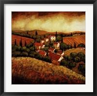 Framed Tuscan Hillside Village