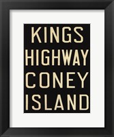 Framed Kings Hwy/Coney Island