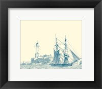 Framed Sailing Ships in Blue I
