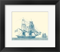Framed Sailing Ships in Blue II