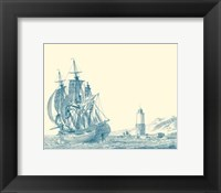 Framed Sailing Ships in Blue III
