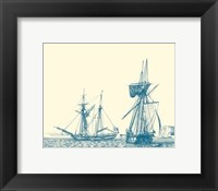 Framed Sailing Ships in Blue IV