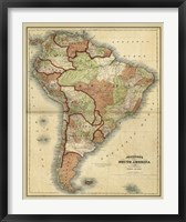 Framed Antique Map of South America