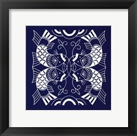 Chinese Indigo Fish II Framed Print