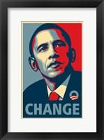 Framed RARE Obama Campaign Poster - CHANGE
