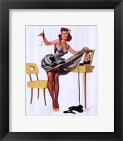 Framed Pin-Up Girl with Inkstains
